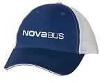 Sandwich Trucker Cap (Royal/White) with Nova Bus logo embroidered full front.