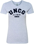 Ladies Boyfriend Tee with UNC Greensboro Alumni imprinted logo.