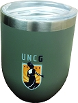 12oz Vacuum Wine Tumbler with UNCG Minerava logo.