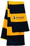 Rugby Striped Knit Scarf embroidered with UNC Greensboro School of Education logo.