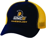 Team Sportsman The Duke Washed Trucker Cap with UNC Greensboro EdD in Kinesiology embroidered logo.