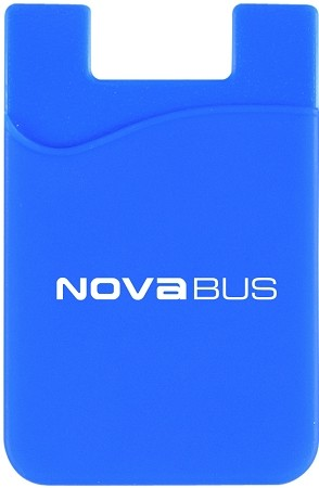 Silicone Phone Wallet  with Nova Bus imprinted logo.