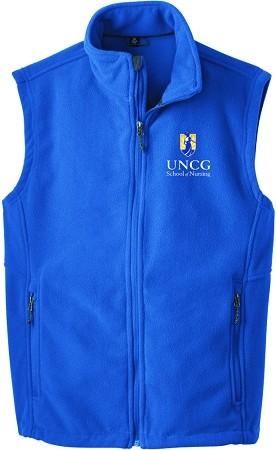 Mens Fleece Vest (Royal) with UNCG School of Nursing logo embroidered left  chest.