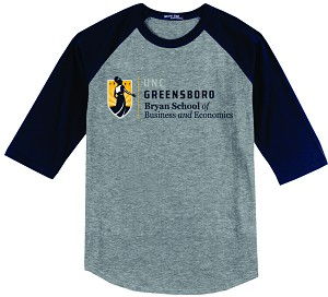 Colorblock Raglan Jersey with UNC Greensboro Bryan School imprinted logo.