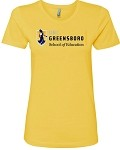 Ladies Boyfriend Tee with UNC Greensboro School of Education imprinted logo.