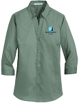 Ladies SuperPro 3/4 Sleeve Dress Twill Shirt with Embroidered WJ logo.